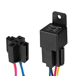 Automotive Relay Harness Set,Jtron 12V 40A 4-Pin SPDT With I