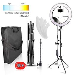 Emart 18 inch Bi-color LED Ring Light with Stand, 480LED Dim