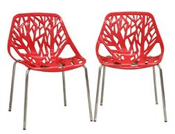 Fancierstudio Birch Sapling Plastic Accent Dining Chairs Red