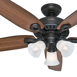 """Hunter 52"""" New Bronze Ceiling Fan - Three-Light Fitter with"""