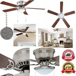 Hugger 52 In. Brushed Nickel Ceiling Fan With Frosted Dome L