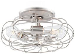 Brushed Nickel Vintage Cage LED Ceiling Fan Light Kit