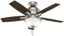 Hunter 44 in. Ceiling Fan in Brushed Nickel with LED Bowl Li