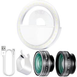Neewer Cellphone Photography Clip-on Lens and LED Ring Light