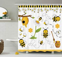 Ambesonne Collage Decor Shower Curtain, Flying Bees Daisy Ho