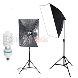 Continuous Lighting Kit E27 Bulb Lamp Softbox Light Stand fo