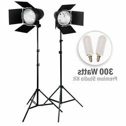 2Pcs Continuous Output Light Photo Video Studio Kit BarnDoor