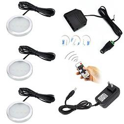 Dimmable LED Under Cabinet Puck Lights AIBOO 3 Lamps Kit wit