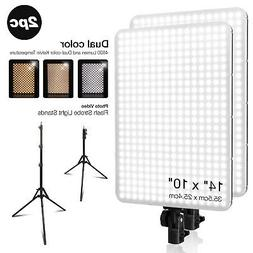 Dual-Color Temperature Photo Light Panel & Stand kit for Pho