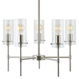 Effimero 5 Light Pendant Chandelier - Brushed Nickel w/ Clea