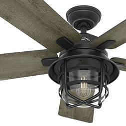"""Hunter Fan 54"""" Weathered Zinc Outdoor Ceiling Fan with a Cle"""