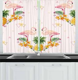Ambesonne Kitchen Decor Collection, Tropical Floral Flamingo