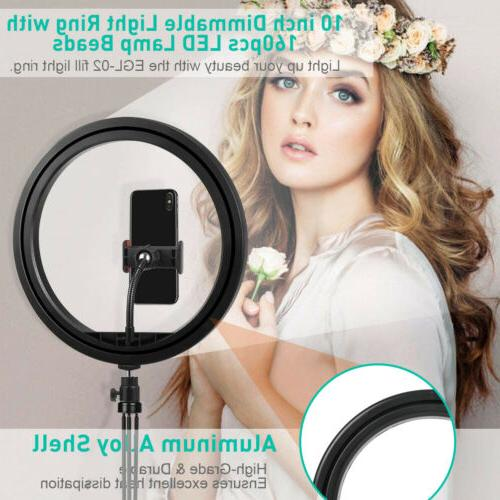 """10"""" LED Ring Light with Tripod Phone Dimmable Desk Ringlight Kit"""