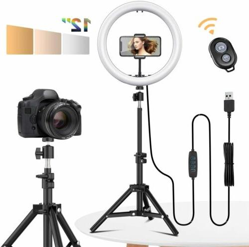 12 led selfie ring light with tripod