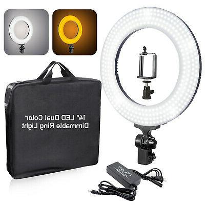 14 dimmable ring light kit white yellow
