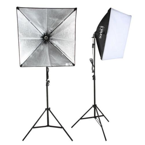 2pcs Softbox Light Kit Photo Studio Photography Continuous Lighting Stand