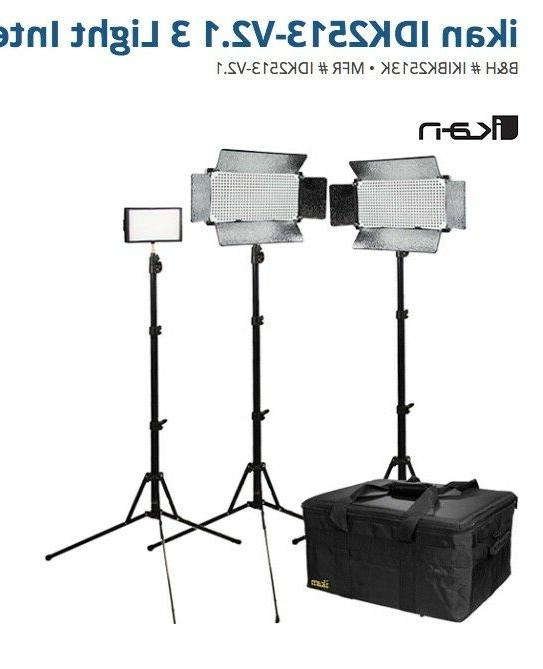 iKan 3 Light Large Interview Kit, Includes iLED312-v2 LED Li