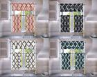 3PC SET FAUX SILK SMALL KITCHEN WINDOW CURTAIN GEOMETRIC PRI