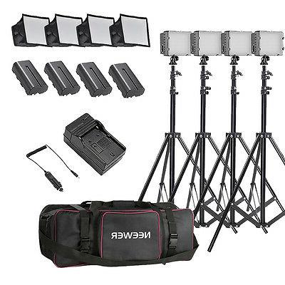 Neewer 4 Set CN-160 LED Camera Camcorder Video Light Kit wit