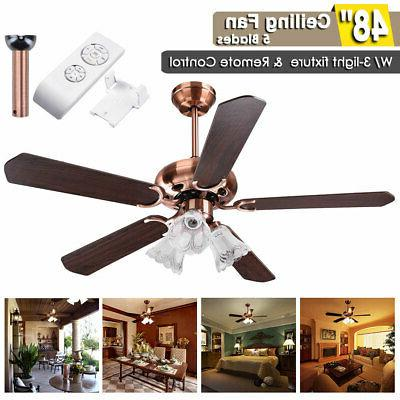 48 5 blades ceiling fan with light