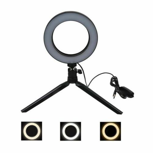 """6"""" Dimmable 5500K Ring Light Kit Stand for Camera"""
