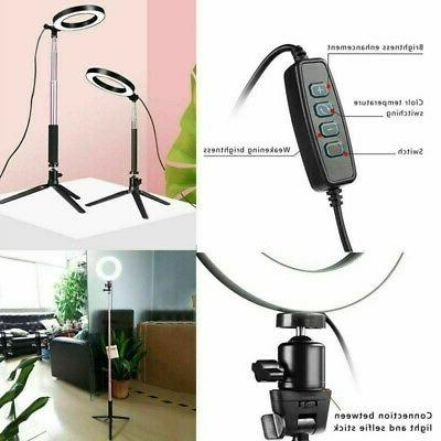 """8"""" Dimmable 5500K Ring Light Kit with Stand Makeup Phone Camera"""
