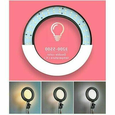 """8"""" Dimmable Ring Light Kit Stand Phone Camera Selfie"""