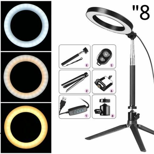 8 led ring light kit with stand