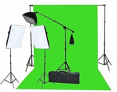 Fancierstudio 2000 Watt Lighting Kit with 10'x12' Chromakey
