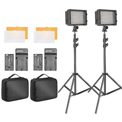 Neewer 2-pack Studio Dimmable 160 LED Video Light Kit with 7