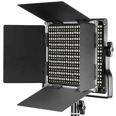 Neewer 2-pack Bi-color LED Video Light and Light Stand with Barndoor
