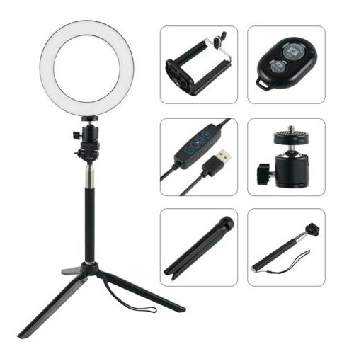 """Dimmable 8"""" Ring Light With Makeup Selfie Lighting Youtube Live"""