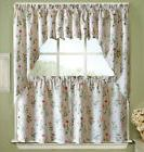 "English Garden Floral White Jacquard Kitchen Curtain 24"" Tie"