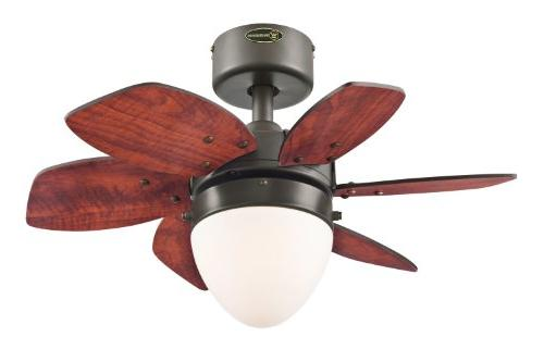 Lighting Single-Light 24-Inch Reversible Six-Blade Ceiling Fan, Frosted - 7222900
