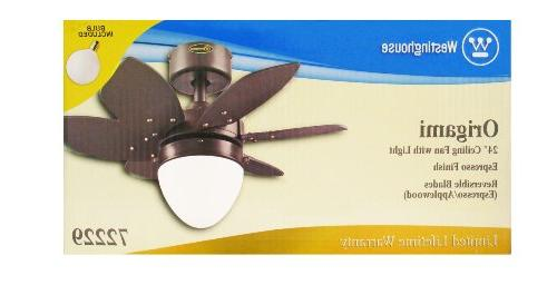 Lighting Origami 24-Inch Reversible Indoor Ceiling Fan, with Frosted - - 7222900