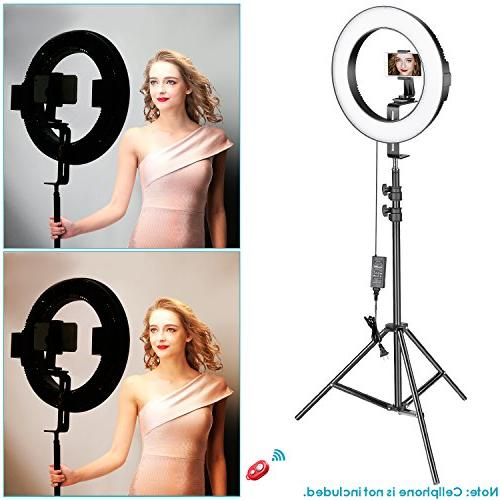 Neewer Outer Dimmable Bi-Color LED Ring Light Smartphone Shooting Light Stand, Phone Holder, Battery, Charger