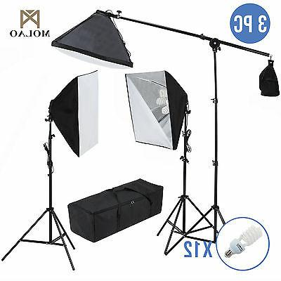 Photo Studio Photography 3 Softbox Light Stand Continuous Li