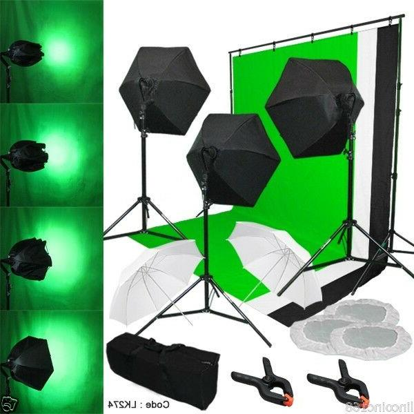 Photography Lighting Muslin Backdrop Stand Studio Light Kit