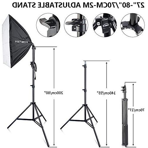 Photography Softbox Lighting Kit, FOSITAN 3M/8.5ft x Background Support 800W Umbrella for Shooting