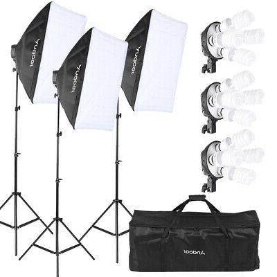 Photography 3 Softbox Light Stand Continuous Lighting Kit fo