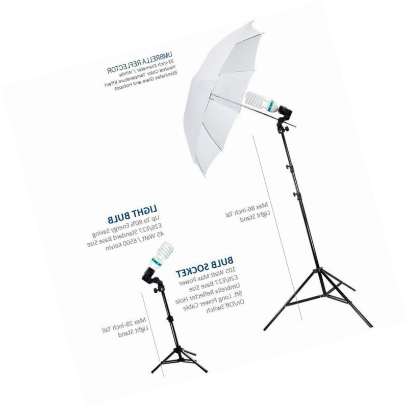 Julius Photography Portrait Umbrella Continuous Bulb Triple Lightin