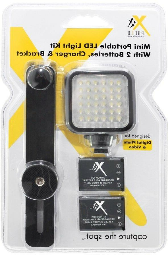 Mini Led Light Kit With 2 Batteries, Charger & Bracket For N