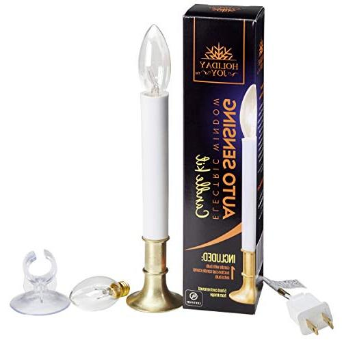Holiday Joy - Original Candles Lamp with Auto Sensor Includes 2 Bulbs, 1 Suction Holder -