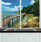 Tropical Landscape Kitchen Curtains 2 Panel Set Window Drape