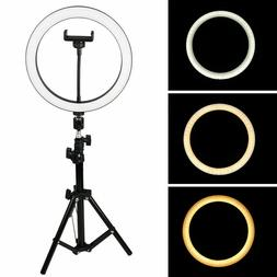 """LED Ring Light 10"""" w/Mount Kit & Stand For Camera Phone Self"""