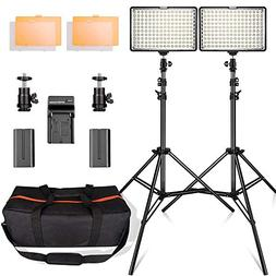 LED Video Light Kit with 2M Light Stand, FOSITAN 11W 960LM 3