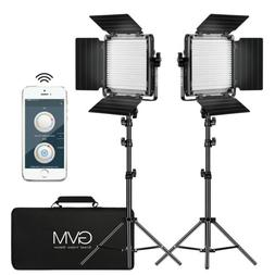 GVM 2 Pack LED Video Lighting Kits with APP Control, Bi-Colo