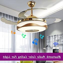 WHYING 42'' Modern Fan Chandelier with Bluetooth Remote Cont