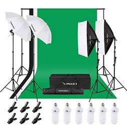CRAPHY 6 x 45W 5500K Umbrellas Softbox Continuous Lighting K