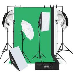 Photo Studio Photography Kit 4x 45W Light Bulb Umbrella 3x B